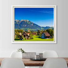 OEM Design Hotel Lobby Wall Decoration Pictures Canvas Village Scenery Drawing with Inner Frame