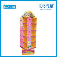 4 sided opening rotating cardboard pop display for children color pens