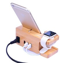 2017 New product Wooden Multi Device USB Charging Station for Smartphones & Tablet for iPhone iPad Android