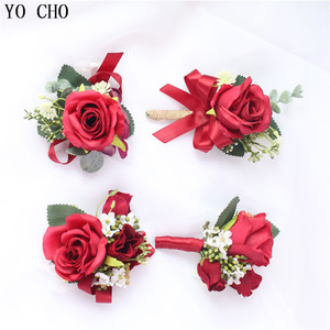 YO CHO Red Rose Wedding Bridal Corsage Boutonniere Bride And Groom Wrist Bracelet Wedding Accessories Bridal Flower Corsage