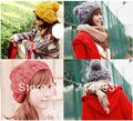 Fashion Korean Women's Winter Warm Knit Wool Beanie Hat Crochet Warm Pumpkin Ball Cap 9083