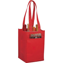 Promotional Nonwoven 4 Bottle Wine Tote Bag with Self Handles