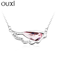 OUXI simple hot sale pink necklace jewelry made with top quality crystal 10948