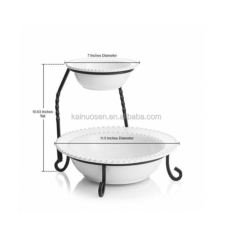 2 Tier White Serving Bowls on Stand
