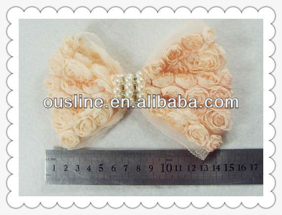 handmade pretty hair decorative flower bow with pearl