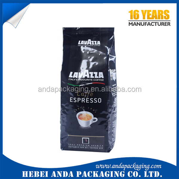 Wholesale Custom Aluminum Foil Coffee Bean Packing Bags with Valve / 1kg side gusset coffee bean bag plastic packaging