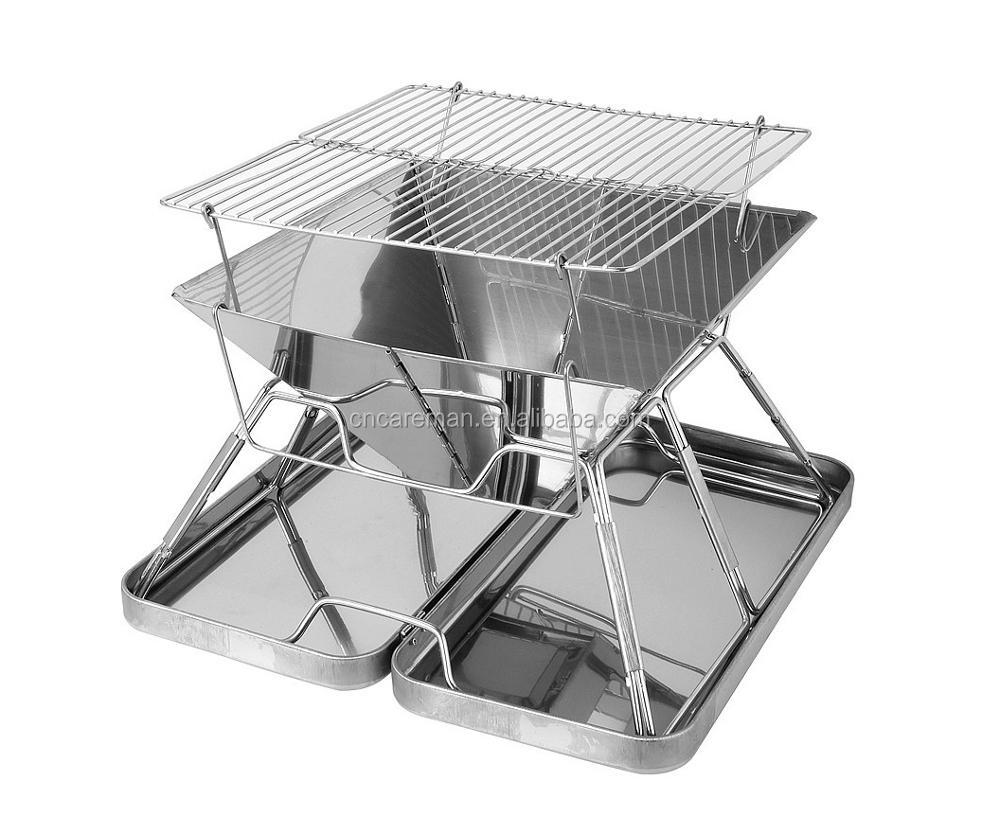Heightened Style Portable Folding Stainless Steel Braai/Brazier/BBQ Grill/Fire Pit with S.S. Protection Box 2 Sizes Available