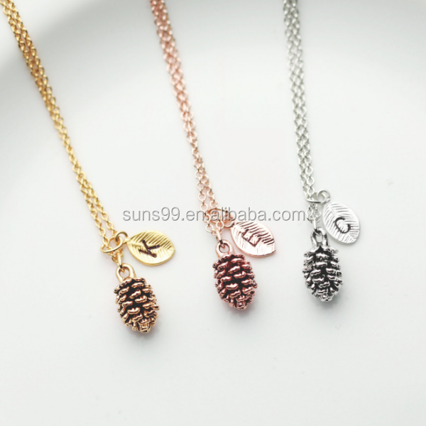 New Design Pinecone Necklace - Bridesmaid Gift Best Friend Gift Gold Leaf Necklace Pine Cone Necklace