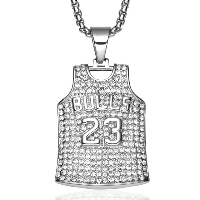 2018 Creative Jewelry 316L Stainless Steel BULL Letter Number Micro Paved Crystal Sports Suit Design Pendant Necklace