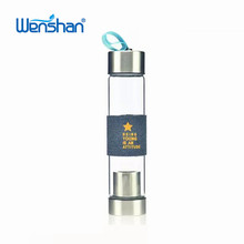 2017 New single wall Borosilicate Glass sparkling Water bottle with Tea Infuser
