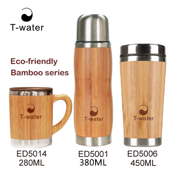 2016 BPA free double wall insulated biodegradable thermo cup bamboo