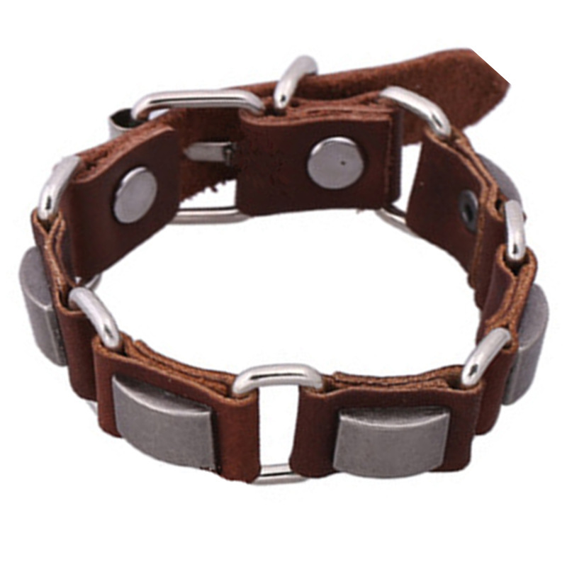sh7-3 Personality Luxury Silver Brown Leather Link Bracelets Fashion Geometric Leather Bracelets For Women&Men Free Shippping
