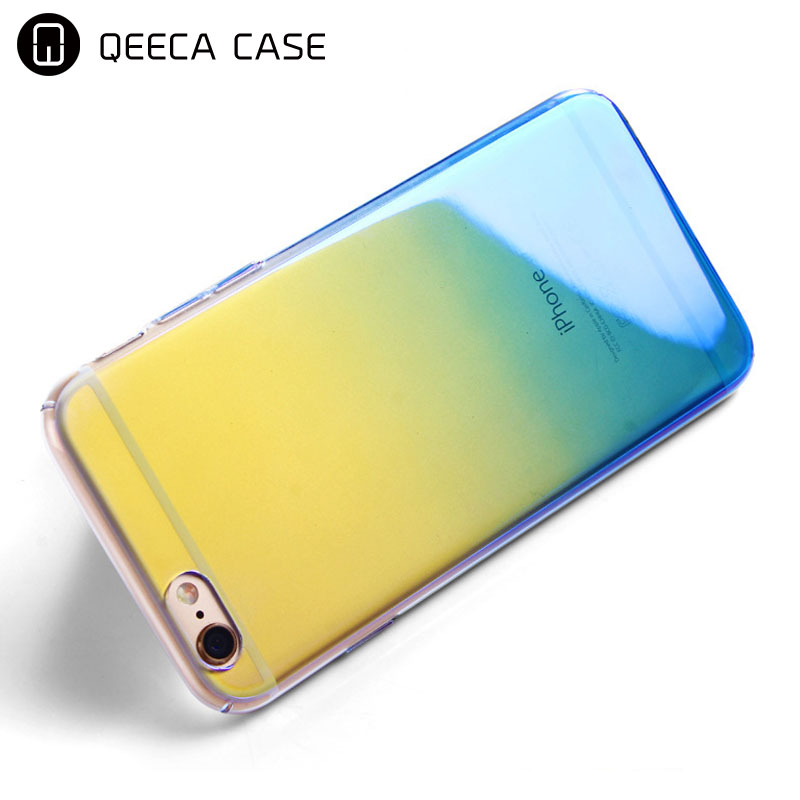 Full protector clear ultra slim PC Blue-Ray light case for iphone 6 case gradient