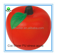 6.8cm bulk polyurethane PU foam stress apple/custom printed PU stress apple/stress ball type PU toy apple style