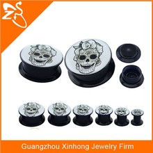 Black Acrylic Flesh Tunnel Taper Stretcher Logo Saddle skull printed body piercing jewelry