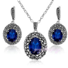 hong kong jewelry wholesale necklace and earring women blue stone jewelry set
