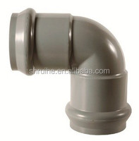Plastic pvc pipe fitting, 90deg elbow with rubber joint for suppling waterline