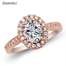 Fashion Rose Gold Color Hollow out Crystal Engagement Rings For Women Silver Color Love Wedding Party Ring