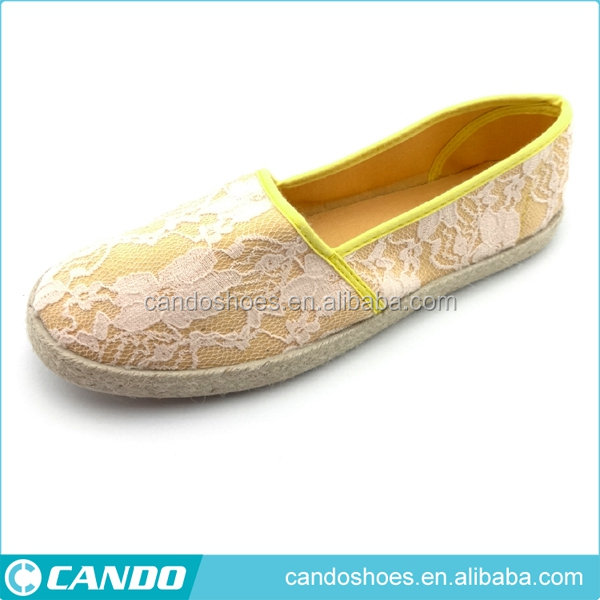 tender yellow ladies summer cool casual women shoes with flower pattern