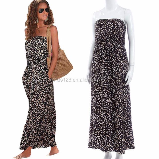 Womens Celeb Strapless Boho Long Maxi Dress Lady Summer Beach Party Dresses