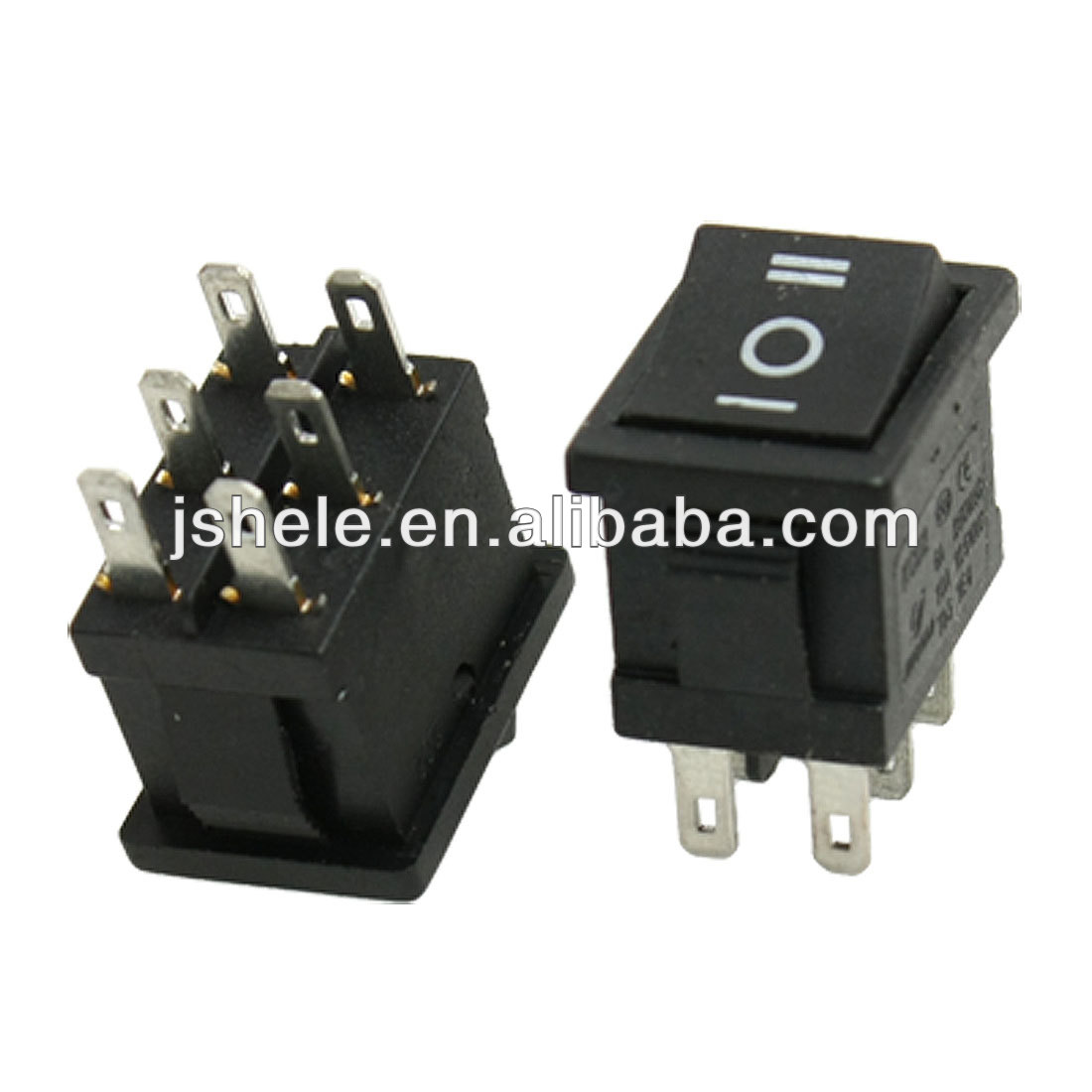 AC 250V/6A 125V/10A DPDT on/off/on 3 Position Rocker Switch 6 Solder Lug Pin