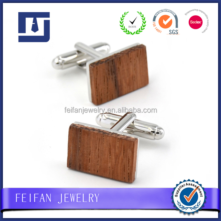 Natural Zebra Red Wooden Rectangle Cufflinks for Christmas Gift