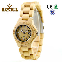 2017 Wholesale Power Reserve Smart Lady Calendar Watch Eco-Friendly Natual Maple Wooden Watch