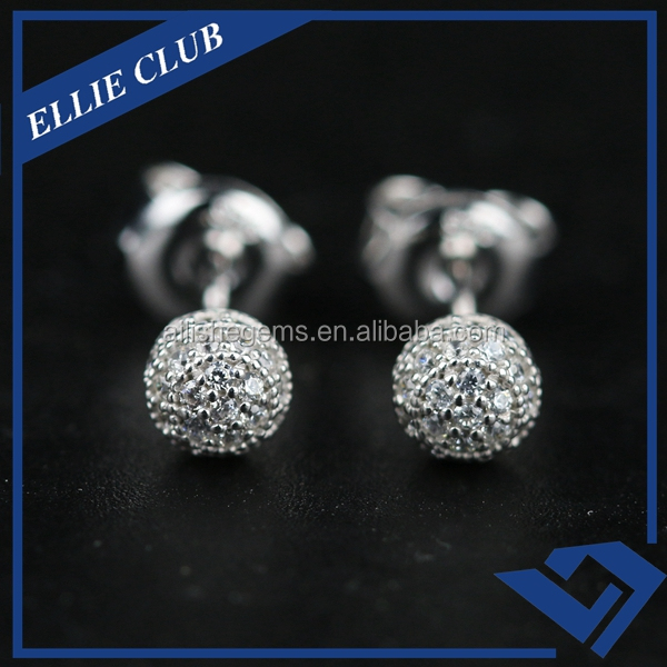 Factory Price Fashion Ball Shaped Zircon Silver Stud Earing
