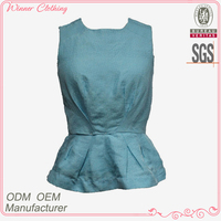 Hot Selling Well-Fitting Sleeveless Formal Blouse and Skirt