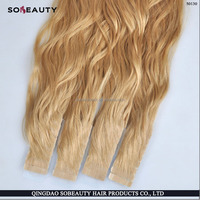 Wholesale Price No Shedding No Tangle Remy Human Hair wavy hair tape extensions