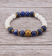 Luxury Lapis and White Jade Gold Ball Bracelet Suits Lady