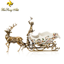 European-style Christmas gifts luxury decorative wine rack ceramic wine bottle holder with brass elk decor