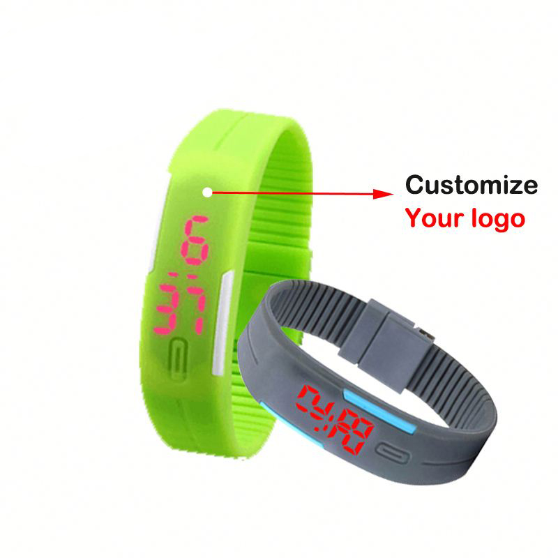 Hot selling sport newest 12 colors digital red light silicon bracelet led watches