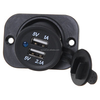 12V Car Motorcycle Truck Cigarette Lighter Socket Power Outlet Plug with Dual USB Charger Adapter