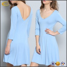 Ecoach Wholesale OEM Elegant Women Three Quarter Sleeve V Neck Sky Blue Flare Dress Blank Design Casual Dresses for Woman
