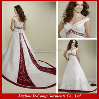 WD-1864 Elegant satin wedding gowns white and red wedding dress with red