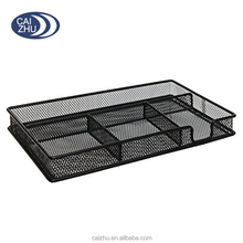 Black Metal Wire 4 Compartment Office Desk Drawer Organizer Tray / Open Storage