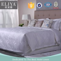 ELIYA Chinese Factory 250TC Cotton White Hotel Jacquard Bed Sheets Quilt Cover Set