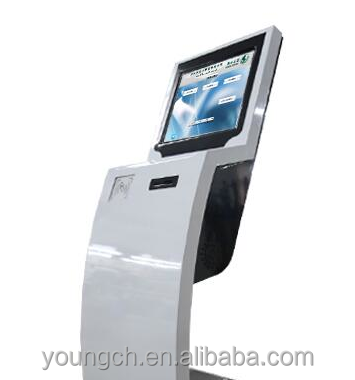 Floor podium self service electronic kiosk with keyboard and coin or card accepting device 22 inch touch screen thermal printer