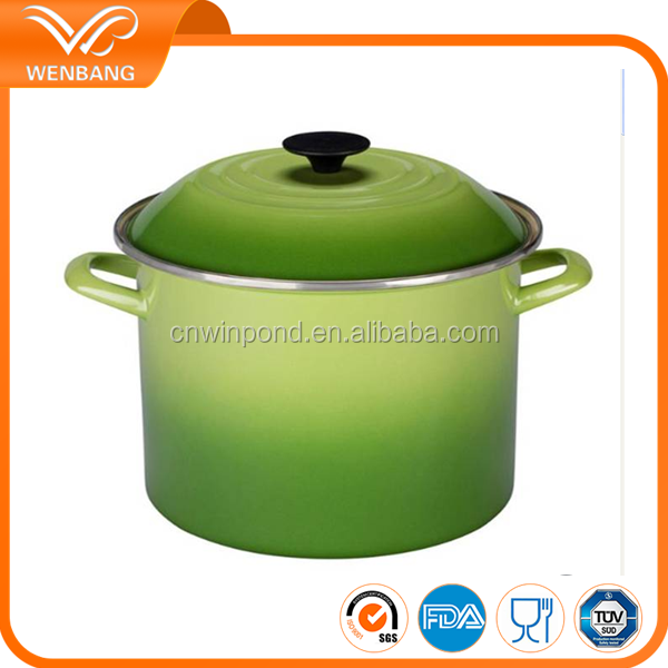 10L gradient green color changed enamelware big casserole hot pot