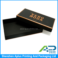 Luxury cardboard black clothes box packaging with custom logo gold foil stamping