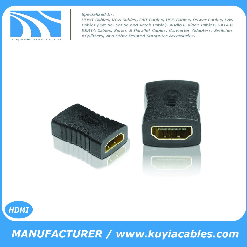 Gold Plated HDMI Female to Female Coupler Joiner Gender Changer Extender Connector-(HDMI F to F Coupler -Black)