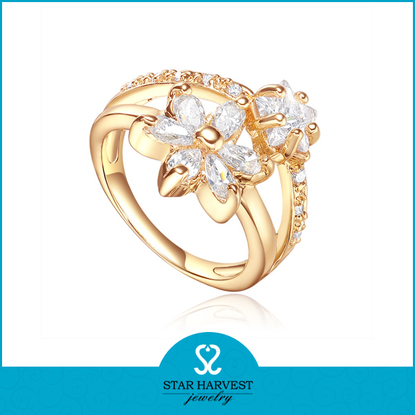 Flower shape 18k plating new design gold finger ring