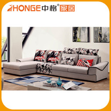 Beautiful L Shape Fabric Corner Wooden Sofa Set Designs