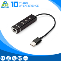 High speed 100Mbps Lan Adapter 3 ports USB2.0 usb port hub