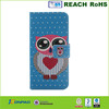 Printing Cartoon Owl Wallet Leather Case For iphone 6 with stand TV Function