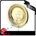 high quality gold plated stainless steel fruit plate with sunflower pattern