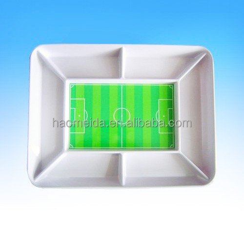 Novelty funny melamine football field snack serving tray