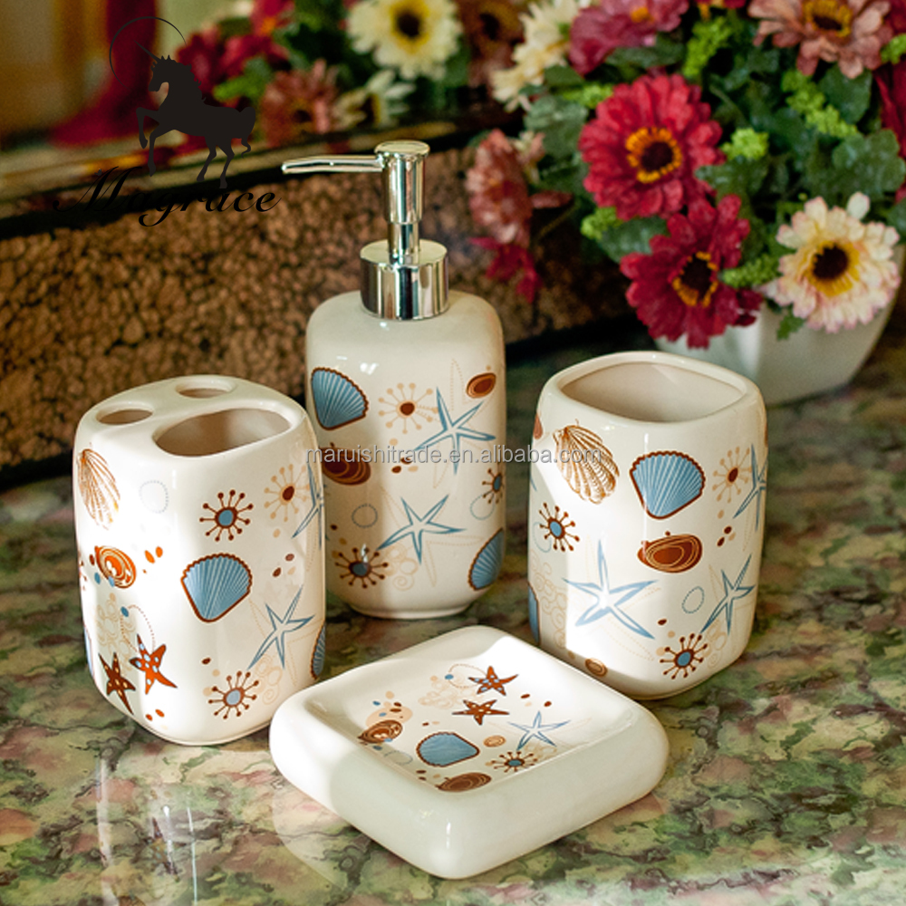 2016 seashell design Ceramic bathroom accessory set