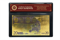 World Paper Money Collection 20 Euro Fake Banknotes with COA Frame Gold banknote Color Make Money Selling